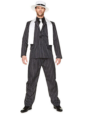 1920s Gangster Costumes (Mens Gangster Boss Costume Adults 1920s Mafia Pinstripe Fancy Dress Stag)