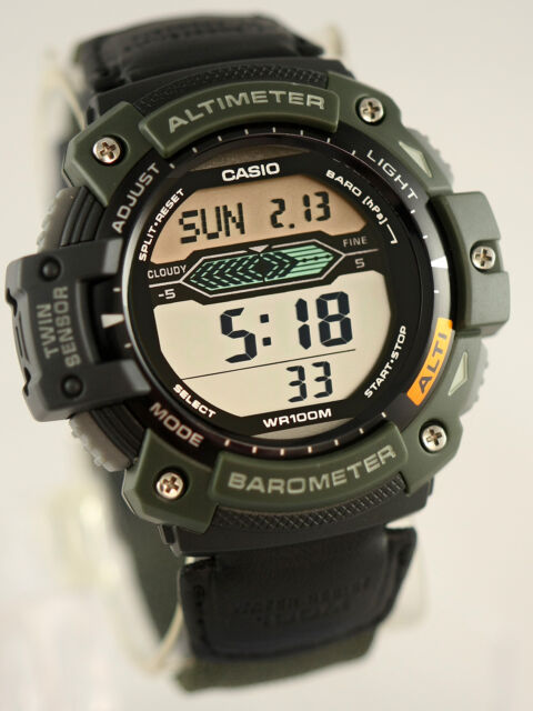 Casio SGW-300HB-3AV Altimeter Thermometer Watch World Time Green Cloth Band New