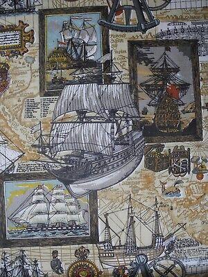 Ship Map - Vtg Nautical Fabric Ship Sailboat Mariner Captain Map Riverdale 1978 By The Yard
