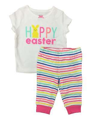 Carters Infant Girls Happy Easter Outfit Bunny Rabbit Shirt & Leggings Set