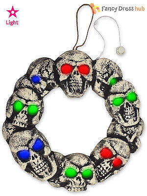 Flashing Light Up Hanging Skull Door Wreath Halloween Party Decoration Prop
