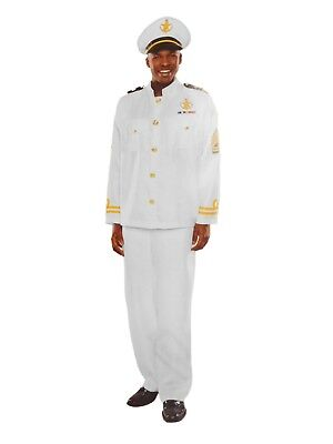 Mens Navy Captain Halloween Costume Hat Top & Pants