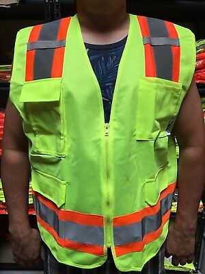 Surveyor Lime Safety Vest Ansi Isea 107-2015 Photo Id Pocket Small To 4-xl