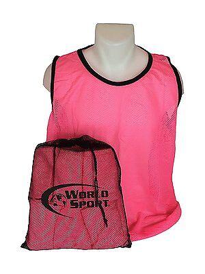 12 Pack Youth pink Blank Scrimmage Vests pinnies bibs soccer football  lacrosse 193efc306845d