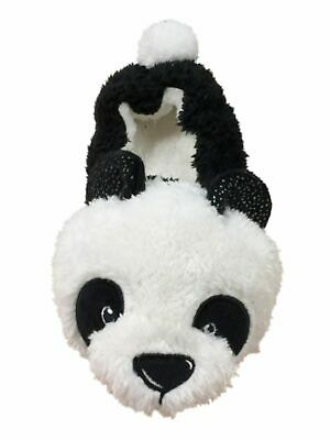 Womens Fuzzy Black & White Panda Bear Slippers Animal House Shoes Panda Bear Slippers