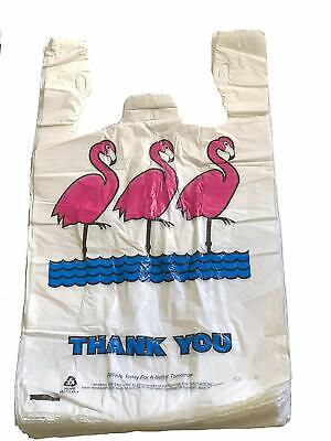 Lot 3500 Flamingo Thank-you T-shirt Plastic Shopping Bags Handles Large