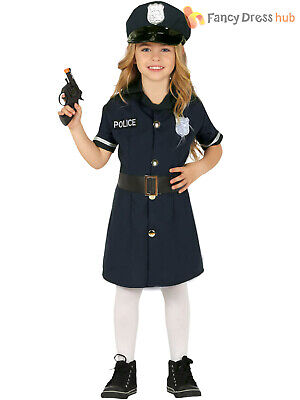 Girls Police Costume Childs Cop WPC Uniform Fancy Dress Kids Book Day Outfit