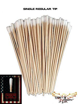 Gun Cleaning Tips Cotton Rifle Pistol Weapon Grease Oil Cleaner 100pc Wood Swabs