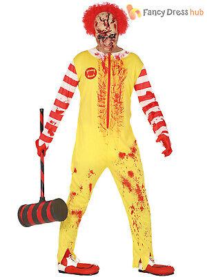Mens Zombie Burger Clown Costume Killer Mcdonald Circus Halloween Fancy