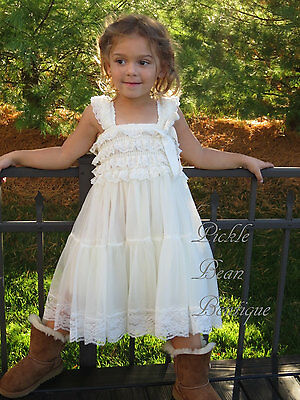 Girls Ivory Lace Dress - Country Cowgirl Princess - Rustic Baby Wedding 3T 4T - Cowgirl Princess