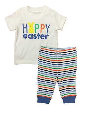 Carters Infant Boys Happy Easter Baby Outfit Bunny Rabbit Shirt & Pants Set