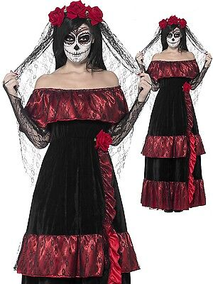Ladies Day Of The Dead Bride Halloween Fancy Dress Costume Outfit Plus Size