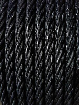 Black Powder Coated Galvanized Wire Rope Cable 14 7x19 - 50 100 250 500 Ft
