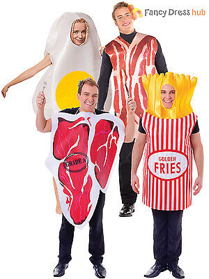 Adult Egg and Bacon Funny Fancy Dress Food Novelty Couples Humour Stag Costume ()