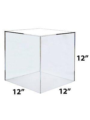 "12"" x 12"" x 12"" Clear Acrylic 5 Sided Display Cube"