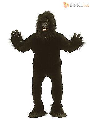 Gorilla Costume Adults (Adult Furry Gorilla Ape Suit Monkey Fancy Dress Costume Mens King Kong)