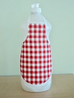 Red Check Kitchen Bathroom Decor Dish Hand Soap Lotion Bottle Apron  fits 25 oz
