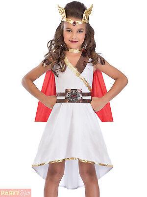 Girls Goddess Princess Costume Roman Fancy Dress Kids Greek Outfit She-ra Book - Greek Girl Outfit