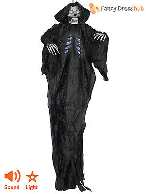 5ft Large Hanging Skeleton Reaper Sound Light Up Halloween Prop Party Decoration