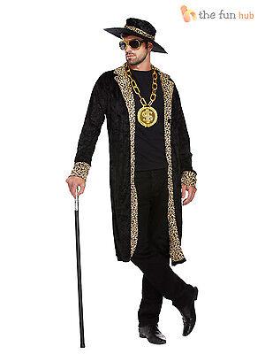 Mens Pimp Fancy Dress Costume + Hat 1970s Retro Big Daddy Rapper Gangster - Pimps Outfit