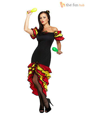 Ladies Spanish Flamenco Fancy Dress Rumba Salsa Mexican National Dancer (National Fancy Dress Kostüm)