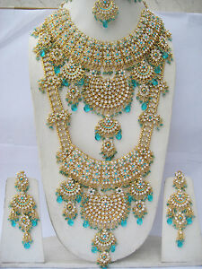 INDIAN BRIDAL JEWELLERY SET 8 PIECE ALLOY TURQUOISE CLEAR JODHA AKBAR STYLE NEW