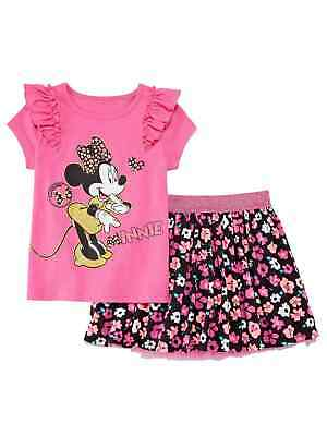 Pink And Black Minnie Mouse Tutu (Disney Girls Pink Minnie Mouse Shirt & Black Floral Tutu Skirt Outfit Large)