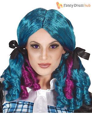 Ladies Blue Purple Pigtail Wig Ringlets Rag Broken Doll Halloween Fancy (Pig Tail Kostüme)