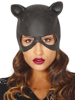 Cat Lady Halloween Costume (Ladies Black Latex Catwoman Mask Halloween Sexy Cat Womens Fancy Dress)