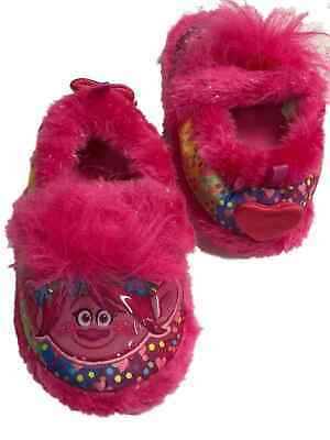 The Trolls Movie Toddler Girls Fuzzy Pink Poppy Slippers Polka Dot Loafers - Toddler The Movie