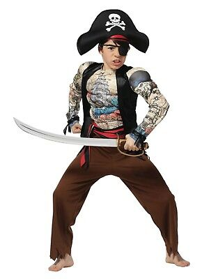 Boys Tattooed Pirate Muscle Costume Halloween Jumpsuit Hat & Eyepatch