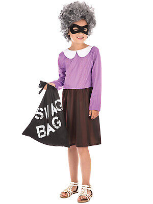 Girls Granny Costume World Book Week Day Fancy Dress Kids Burglar Thief (World Book Week Kostüm)