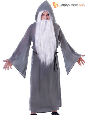 Adults Grey Wizard Cloak Halloween Gandalf Magician Fancy Dress Costume Outfit