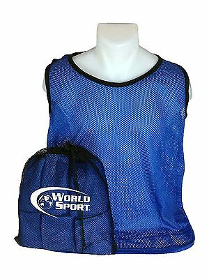 12 Pack YOUTH BLUE Blank Scrimmage Vests pinnies bibs soccer football  lacrosse 332254cd52433