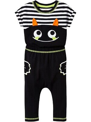 Halloween Monster Smile (Black Infant Boys Smiling Monster Halloween Outfit Set Bat Striped)