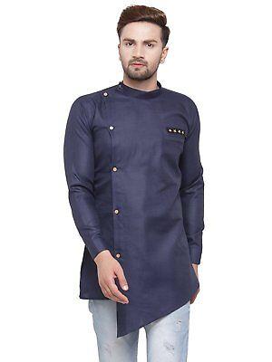 Indian Ethnic Men's Short Designer Kurta Full Sleeve Collar Cotton Shirt Designer Mens Kurta