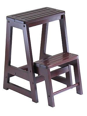 Folding Wooden Step Stool Kitchen Bathroom Bedroom Garage Shop Step Ladder