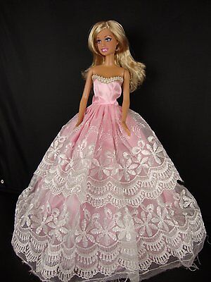 Barbie Strapless Gown - Strapless Pink and White Lace Gown Made to Fit Barbie Doll