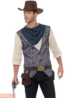 Mens Rugged Cowboy Costume Clint Eastwood Wild West Western Fancy Dress - Clint Eastwood Cowboy Kostüm
