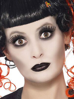 Gothic Halloween Face Painting (Halloween Make Up Face Paint Kit Black Gothic Doll Fancy Dress Costume)