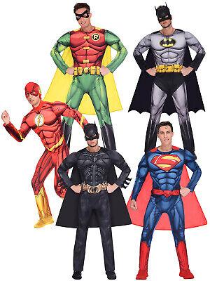 Cheap Knight Costume (Mens Batman Superman Robin Flash Dark Knight Costume Adult Superhero Fancy)