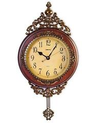 Elegant, Traditional, Hand Painted Modern Grandfather Wall Clock W/Swinging Pend