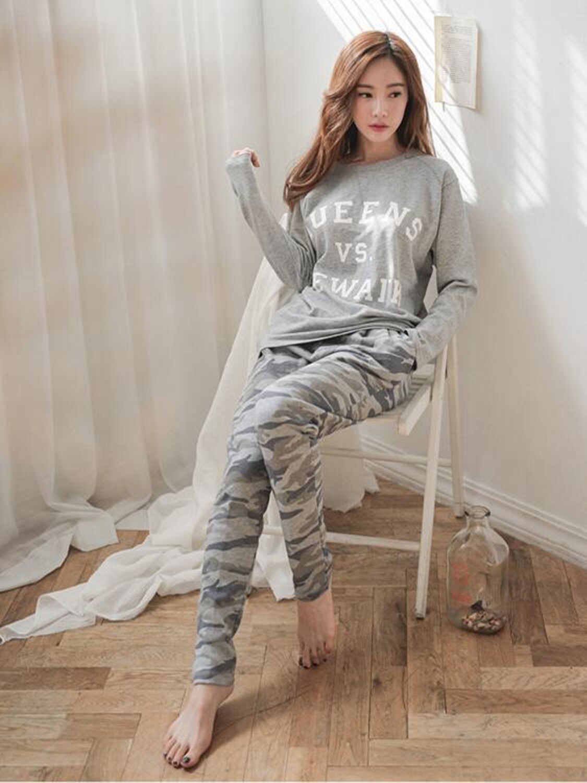 33af50b9d14c Ladies Women Military Grey Cute Cotton Top   Leggings Pyjamas Pajamas  ladpj61