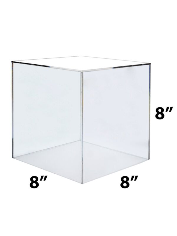 8 x 8 x 8 Clear Acrylic 5 Sided Display Cube