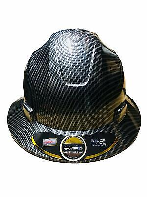 Hdpe  Hydro Dipped Blacksilver Full Brim Hard Hat With Fas-trac Suspension