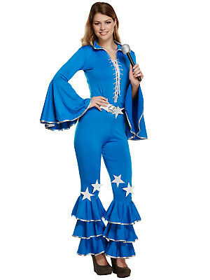 Ladies Disco Girl Dancing Queen Fancy Dress 70s 1970 Flares Jumpsuit Diva Outfit