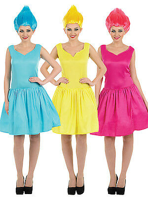 Ladies Pink Blue Yellow Neon Pixie Film Fancy Dress Costume Outfit + WIG UK8-22