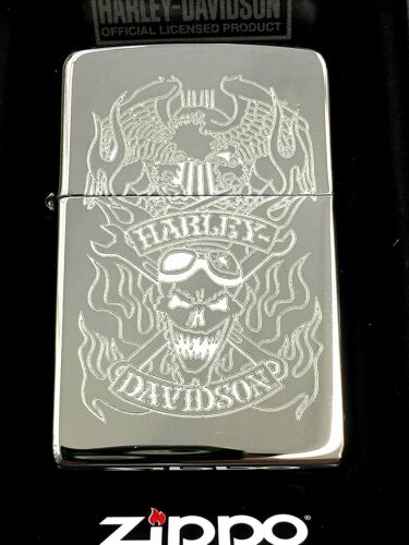 Zippo Harley-Davidson Skull Flames w/ Eagle High Polish Chrome 29283