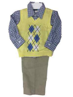 Toddler Boys 3-Piece Dress Up Outfit Yellow Sweater Vest Plaid Shirt & Pants ()