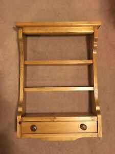 Handcrafted Pine Shelf with Drawer